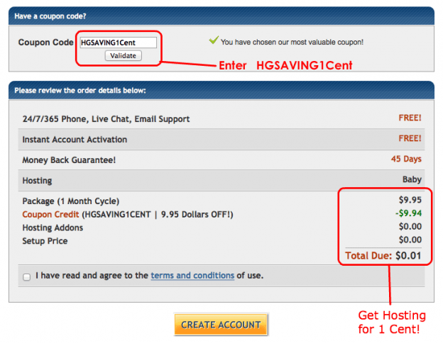 Hostgator 1 cent coupon